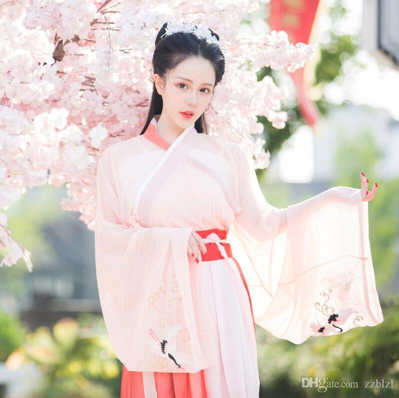 Tang Wei Song Jing hanfu fata cotone ricamato leggiadramente femminile Crane Crossed manica maglia + cappotto Gonna giornaliera Estate antica Suit