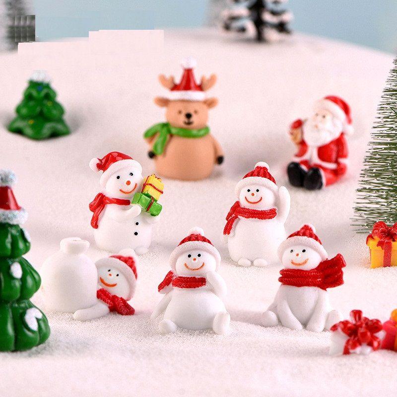 عيد الميلاد ثلج مايكرو المناظر الطبيعية بونساي الديكور سانتا هولي الراتنج هدايا عيد الميلاد مصغرة الراتنج عيد الميلاد التماثيل ديكور