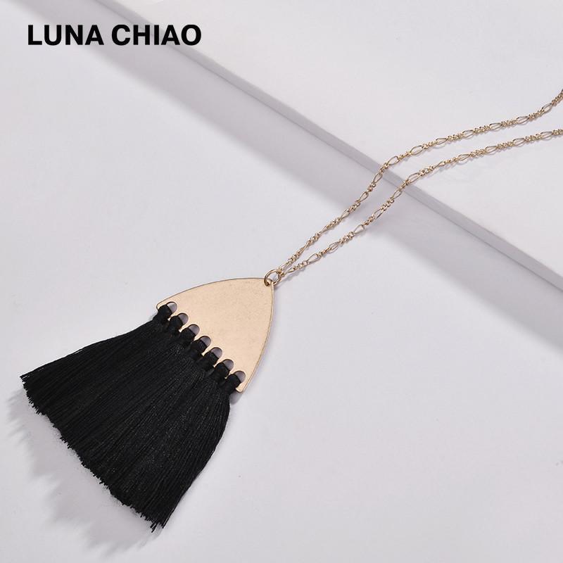 Chiao 2020 Sonbahar Kış Moda Uzun Zincirli Kadınlar için Pamuk Saçaklar kolye kolyeler