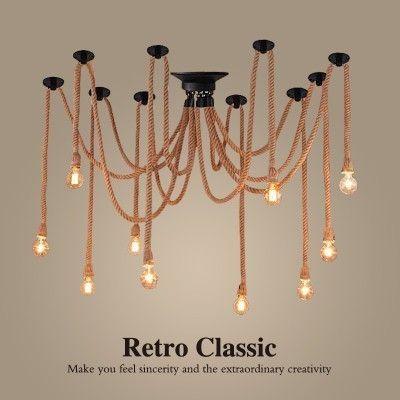 Início Nordic Hemp Vintage Corda candelabro antigo clássico ajustável Diy teto Aranha Lâmpada Luz Retro Edison Bulb luminária