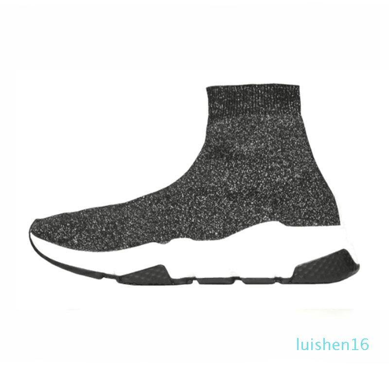 Alta velocidad Trainer para mujer para hombre del calcetín zapatos grises de ojos real para hombre de las mujeres de calidad superior de moda zapatillas de cuero de lujo de los calzados informales L16