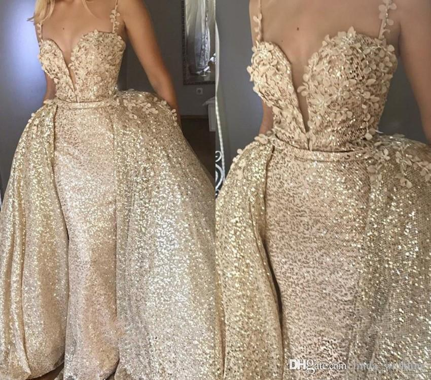 Luxury Champagne Evening Dresses Glamorous With Detachable Skirt Celebrity Holiday Women Wear Formal Party Prom Gowns Custom Made Plus Size