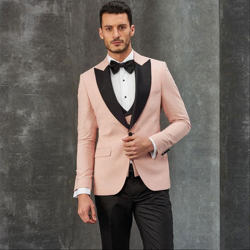 Moda Una rosa de botón de los hombres de los trajes de boda pico solapa tres pedazos de negocios novio esmoquin (chaqueta y pantalones chaleco corbata) W1004