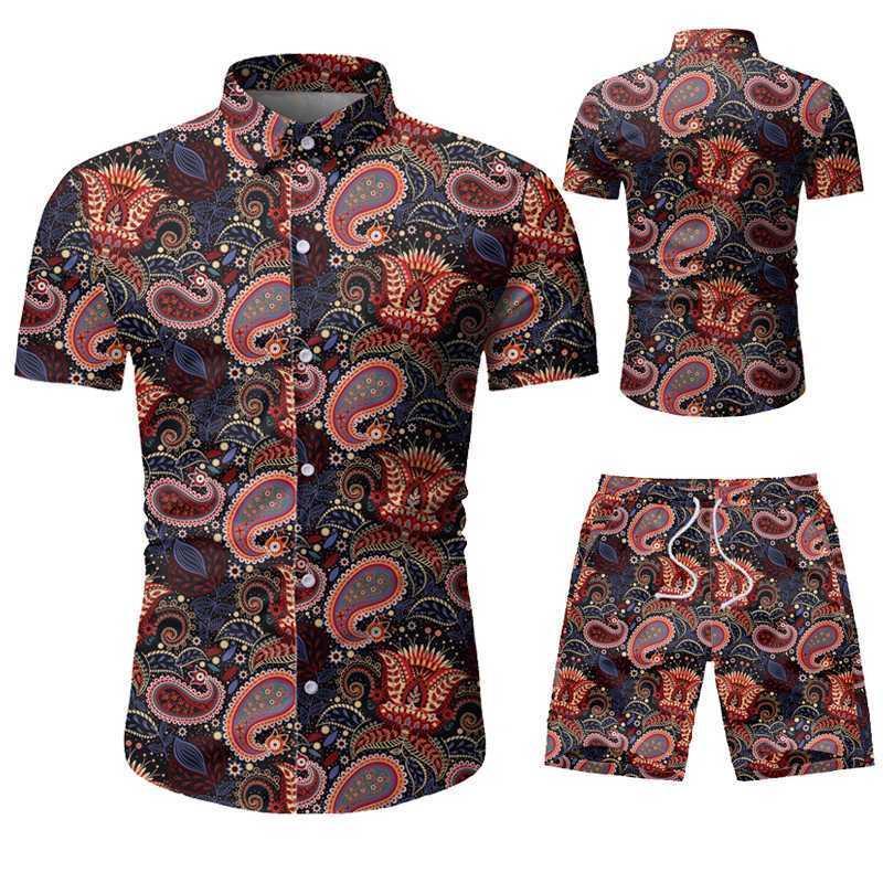 Erkek Eşofman 2021 Marka Giyim Moda Eğlence Takım Elbise Hawaii Beach Yaz Yaka Kişilik 3D Baskı Üst Gömlek Şort
