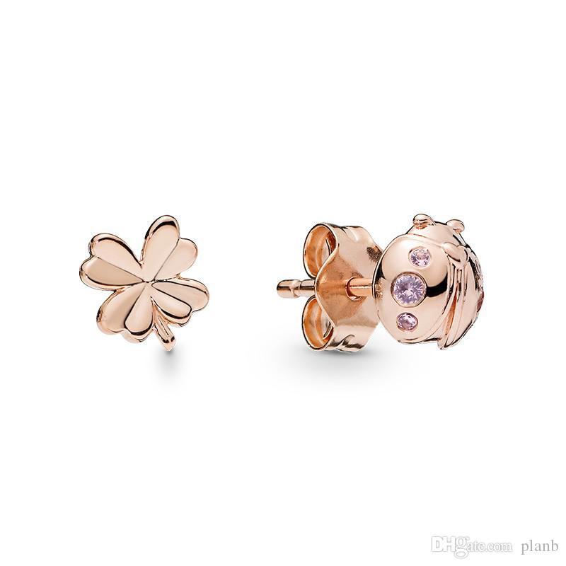 placcato in oro rosa trifoglio Coccinella Orecchini scatola originale per Pandora Argento 925 simpatici piccoli set Orecchini per le ragazze del regalo delle donne