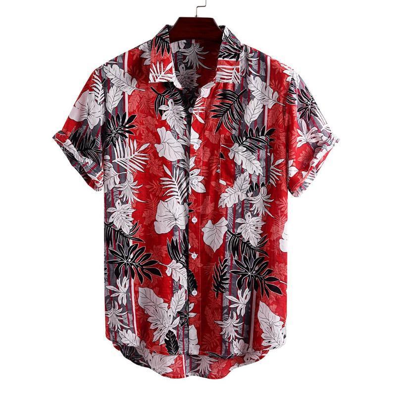 Erkek Casual Gömlek Çiçek Gömlek Erkekler Kısa Kollu Hawaii 2021 Yaz Hawaii Erkek Tropikal Baskı Gevşek Plaj