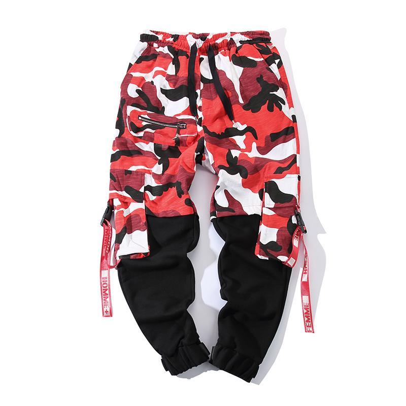 Großhandel Drop Verschiffen 2019 Mens Fashion Splice Camouflage Jogger Hosen Schwarz Rot Camo Hosen Herren Herrenhose Von Hiem, $52.85 Auf