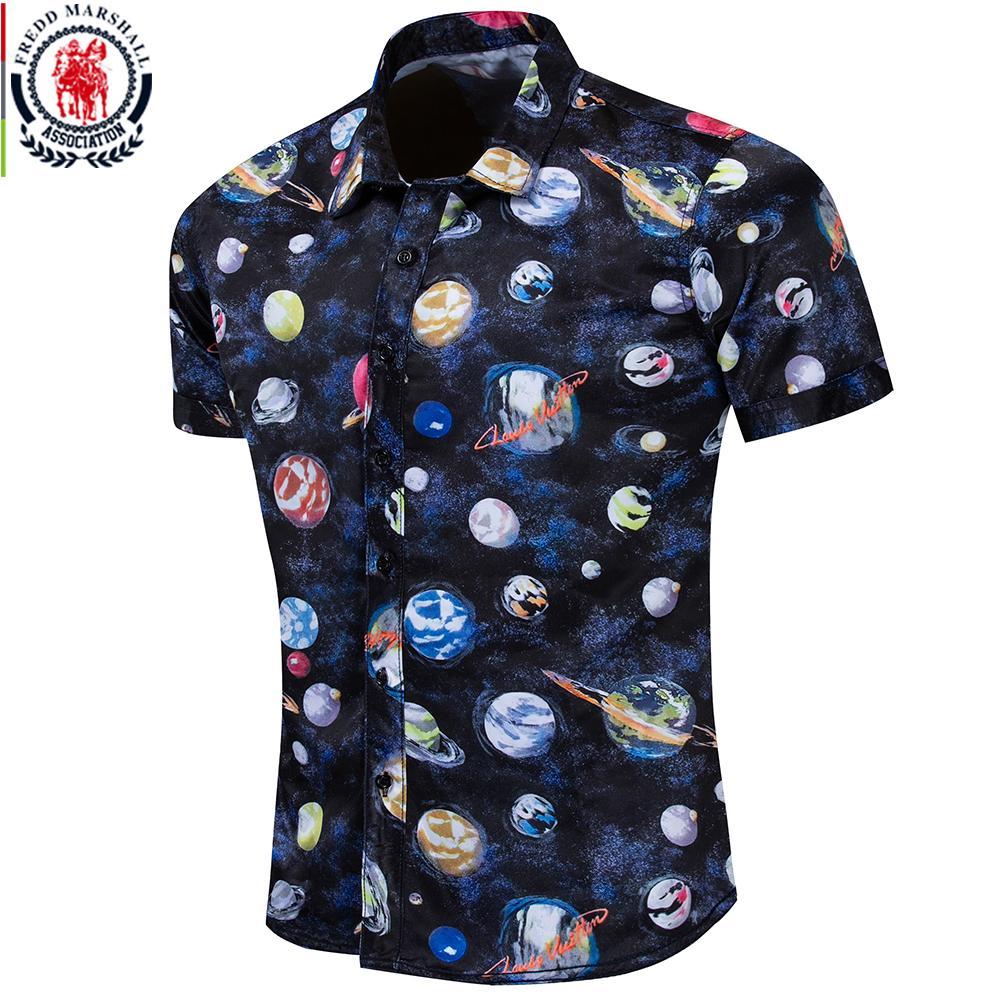 Fredd Marshall 2019 Verano Nueva Moda 3D Impreso Camisa de Hombre de Manga Corta Universo Camisas Ropa Casual de Vacaciones de Vacaciones 55895