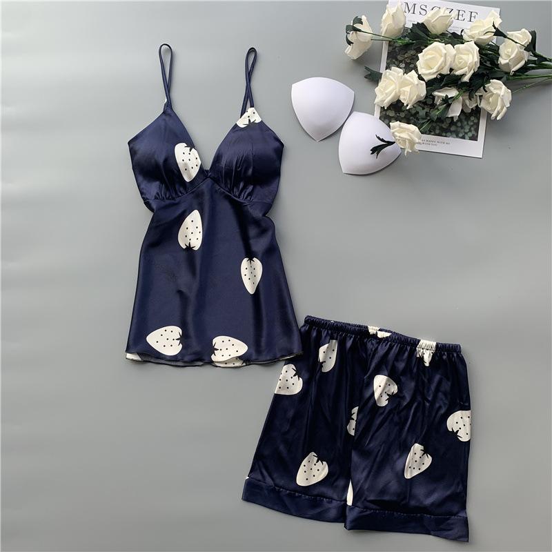 Foply 2 femmes Piece été Pyjama Set Stain soie Sling Top et shorts sexy dentelle fleur Respirant été pantalons courts Wear Accueil