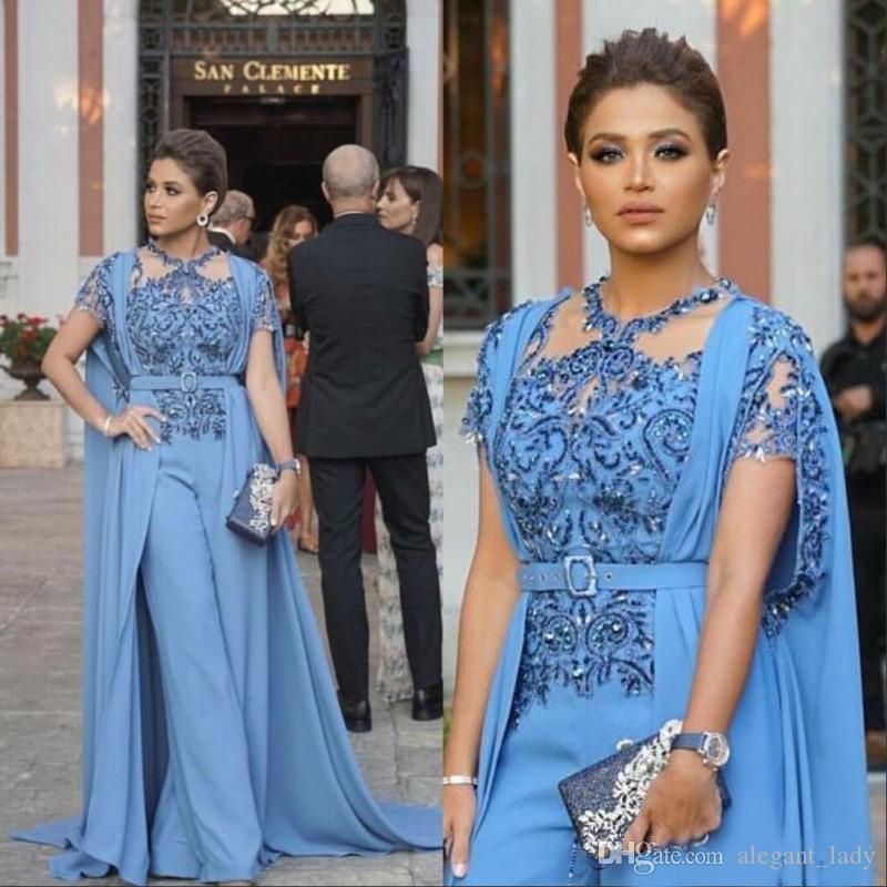 Sky Blue Jumpsuits Prom Dresses With Wrap Cape 2019 Saudi Arabic Beaded lace Applique Evening Gowns Long Women Party Suit