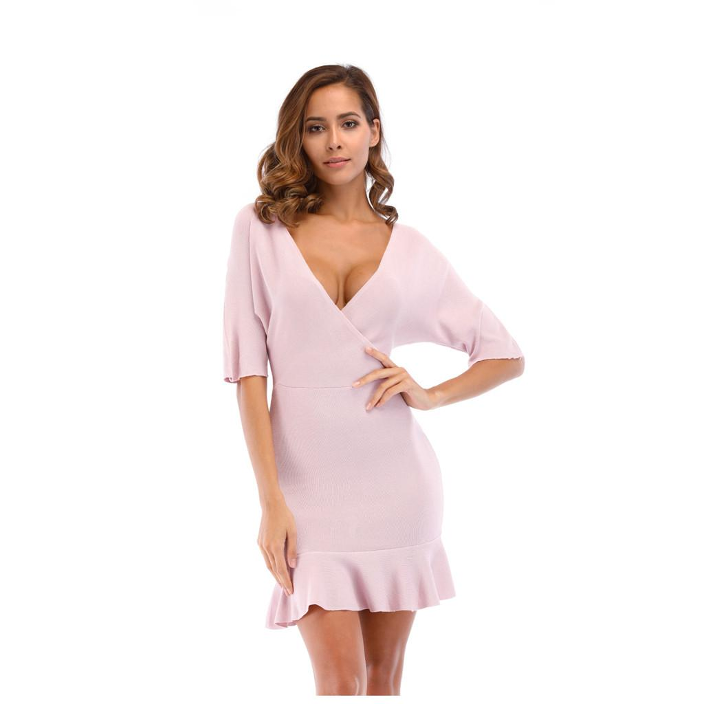 wholesale Dresses woman Deep V Half Sleeve party club dress elegant ruffles Summer Solid Color Knitting dresses New Drop Ship