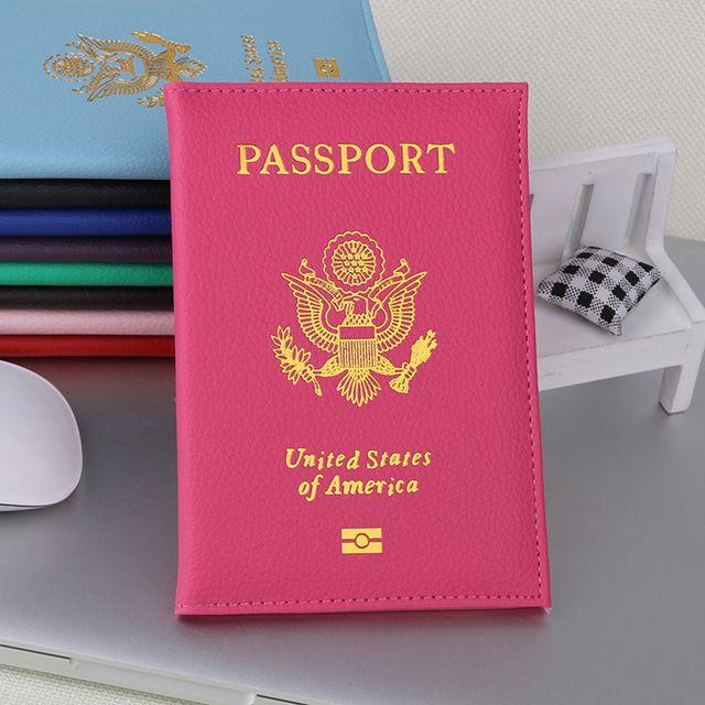 9 الألوان السفر لطيف الليتشي USA جواز تغطية المرأة الوردي USA حامل جواز السفر الأغطية الأمريكية للجوازات بنات حالة جواز السفر المحفظة