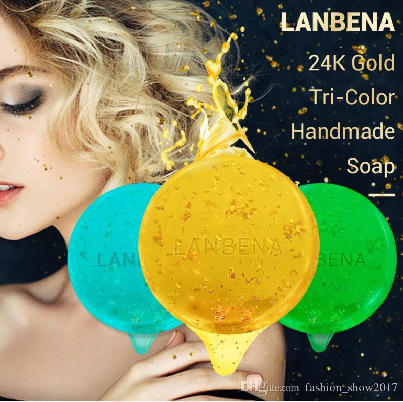 LANBENA 24K الذهب الطبيعي أعشاب البحر شجرة الشاي اليدوية صابون التنظيف العميق الترطيب علاج حب الشباب الصابون اليدوية