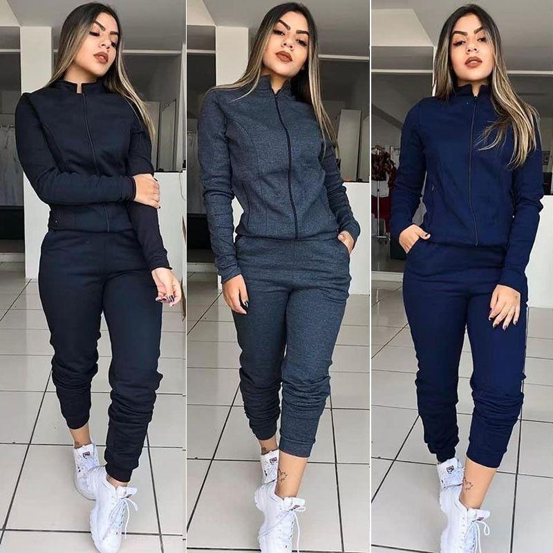 Mode féminine de Set pied de col à manches longues lambrissé Designer Sport Costume Casual solide Femme Vêtements Pocket