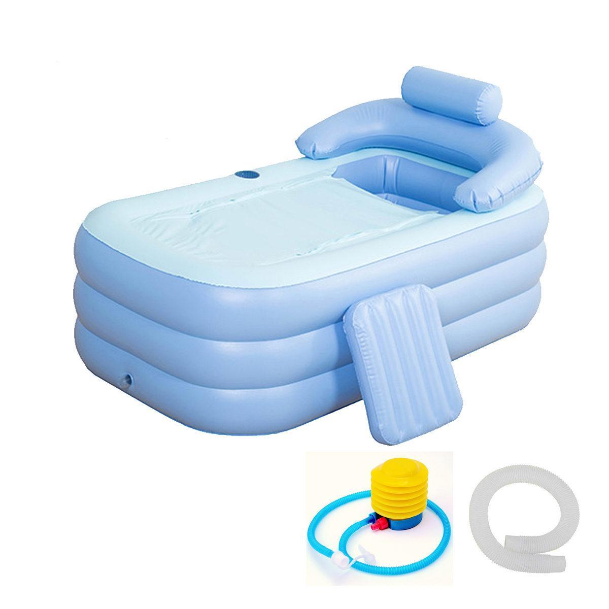 160 * 84 * 64cm Bleu grande taille gonflable Baignoire SPA PVC pliant portable pour les adultes avec pompe à air des ménages Baignoire gonflable