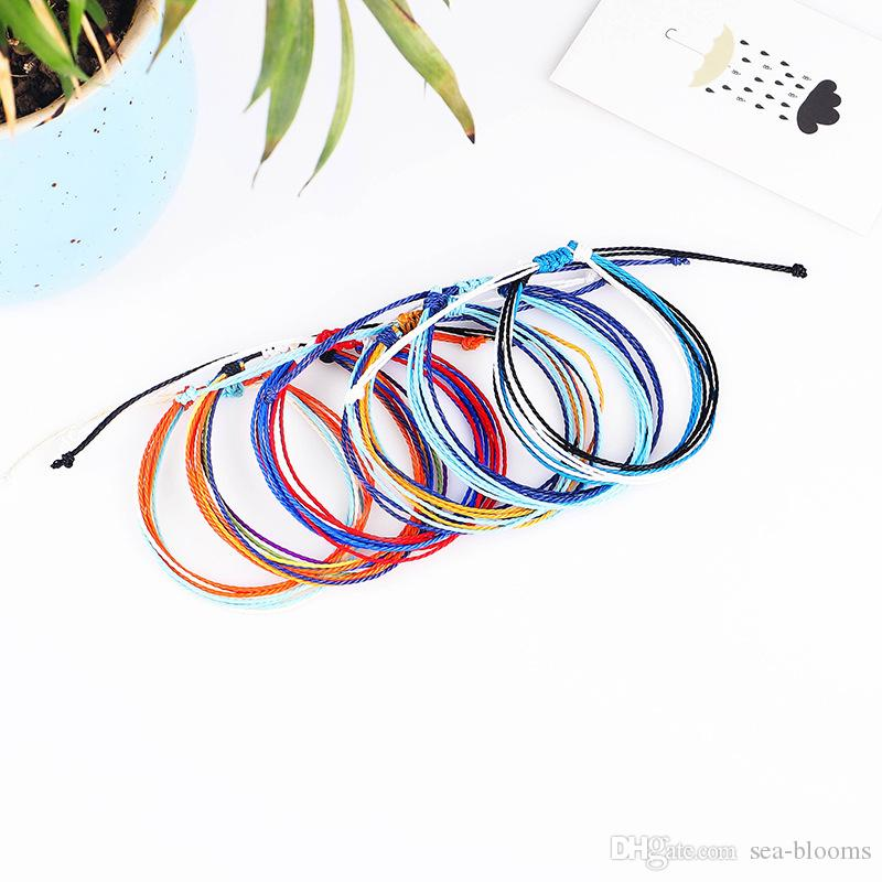 2019 Wax Thread Woven Bracelets Handmade Multilayer Friendship Jewelry Wax String Bracelets Multicolour Adjustable Braided Bracelet H999F