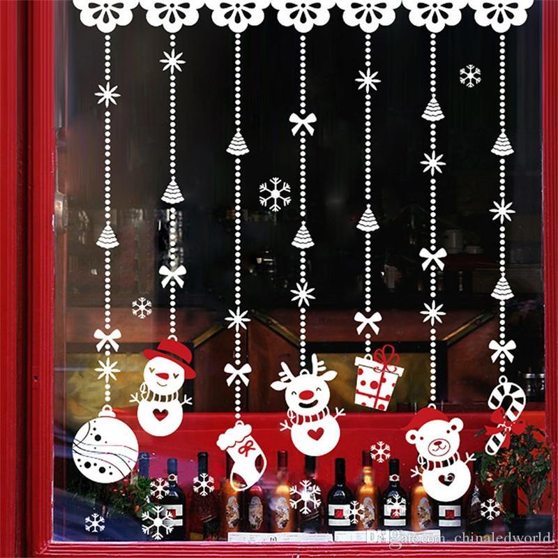 Christmas Snowman Hanging Charm Wall Sticker Shop Window Glass Christmas Decorat