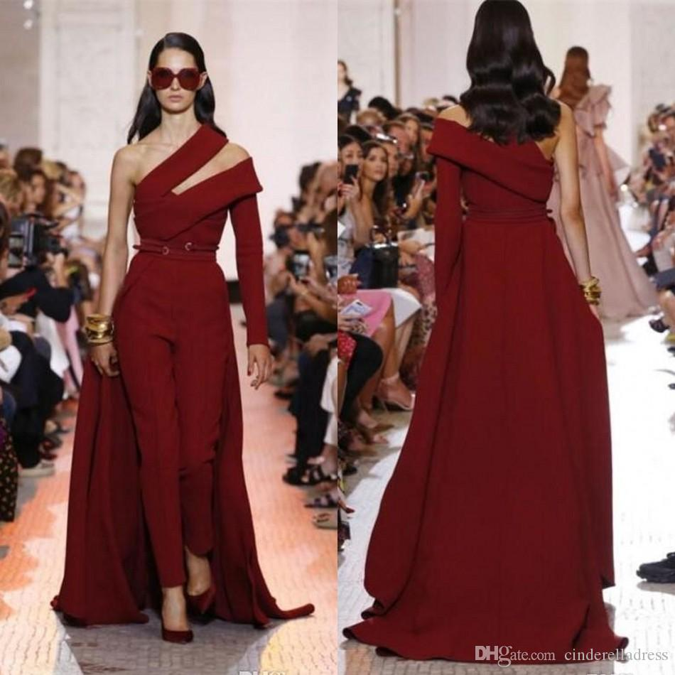 2020 Modern Elie Saab Wine Red Satin Jumpsuit Evening Dresses Custom Detachable Train Prom Dresses One Shoulder Women Formal Party Gowns