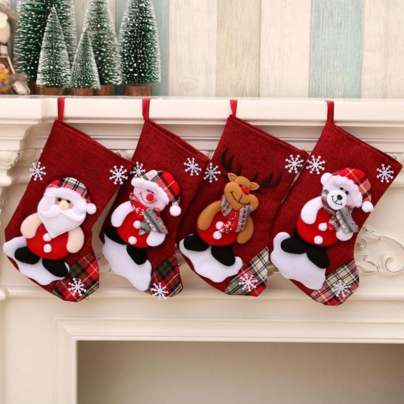 Christmas Stocking Sock Santa Claus Bear Candy Gift Bag Xmas Tree Hanging Decoration Ornaments Drop Shipping