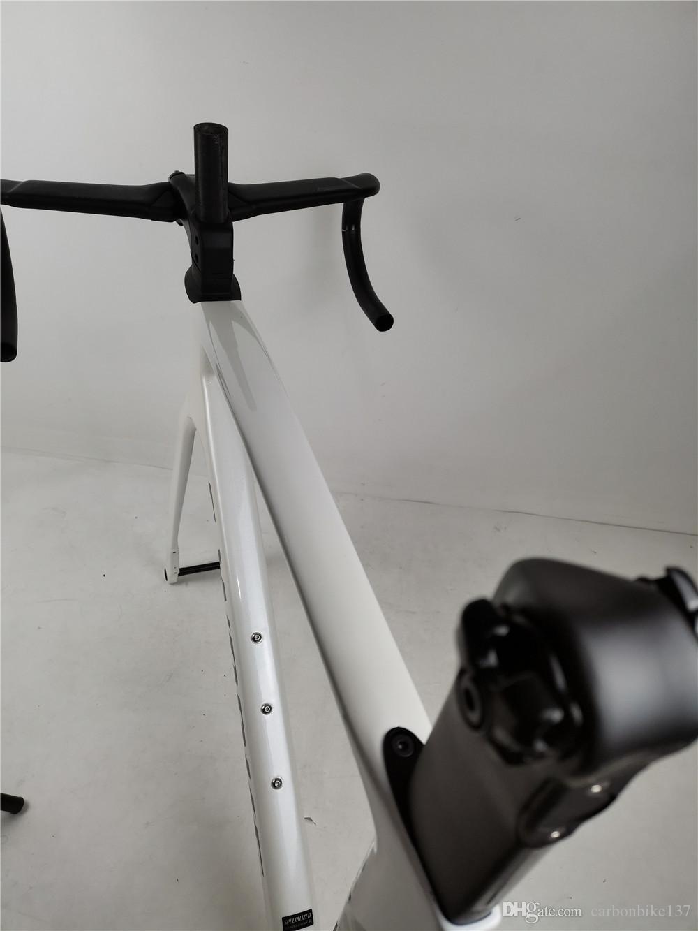 2020 New Coating road bike carbon frame (glossy metallic white silver)700c carbon frameset+(handlebar+stem) size 49-58cm