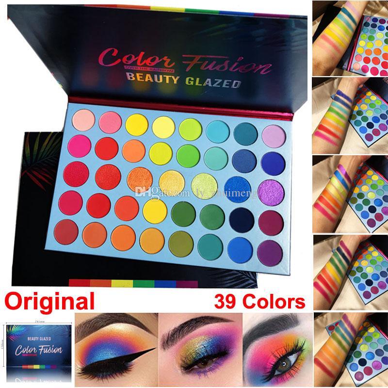 Beleza Vitrificada Maquiagem Paleta da sombra Fusão de cores Sombra para os olhos 39 Cores High Pigmented Glitter Matte Shimmer Highlighter Rainbow Palette