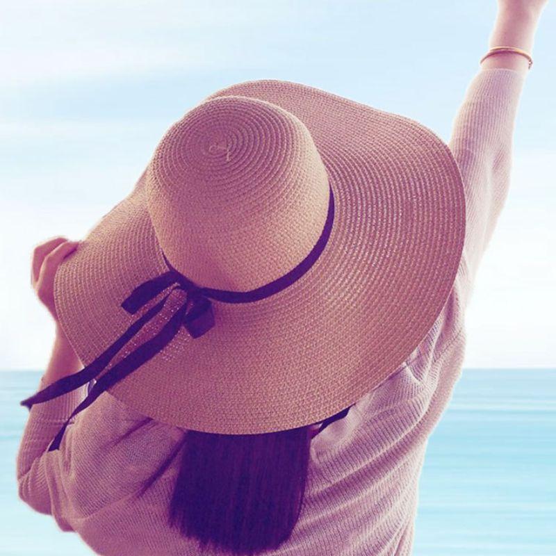 Lady Boater güneş kapaklar Şerit Yuvarlak Düz Üst Hasır plaj şapka Panama Şapka yaz şapka şapka plaj kap güneş şapka Seksi Kadın gorras