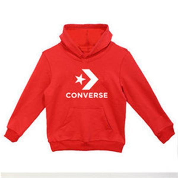 Ropa de marca habitaciones de niños con capucha suéter de manga larga Niños y Niñas Pullover impresión de tamaño suéter blanco Negro Rojo 100-140