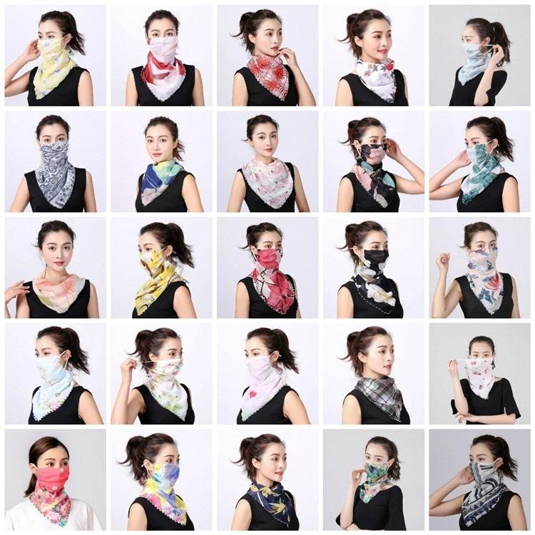 Le donne devono affrontare sciarpa mascherina di seta chiffon Fazzoletto antivento esterna di fronte mezzo alla polvere Parasole maschere antipolvere Sciarpa mascherine del partito T2I5796-1
