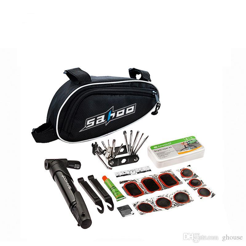 MISTURA em 1 Conjunto de Ferramentas de Ciclismo Bicicleta Conjunto de Reparação de Bicicletas com Bomba de Bolsa de Bicicleta Preta Acessórios Para Bicicletas Chave De Fenda de Montanha ferramenta