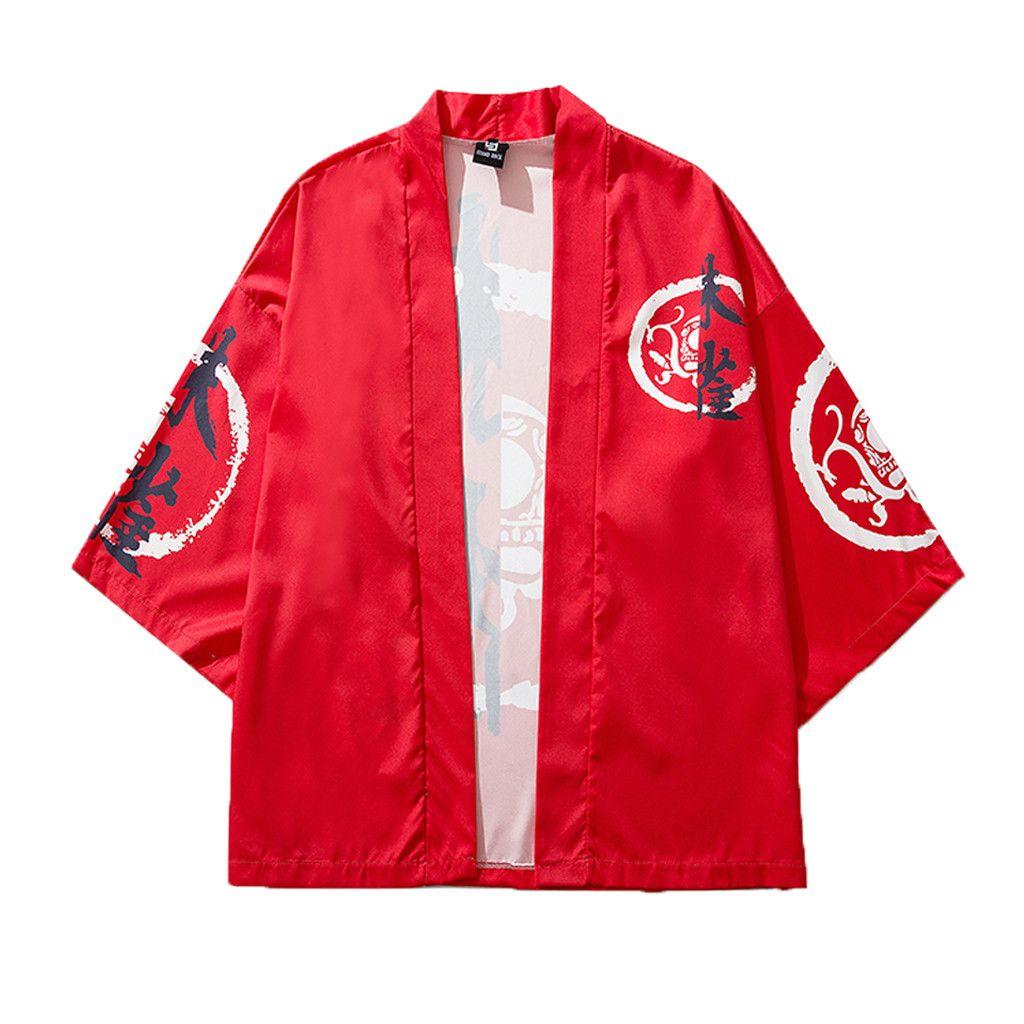 2019 Camisa masculina camisas hombre Strickjacke der Art- und Weisemänner nationaler Druck lösen Yukata baggy Oberseiten-Sommermänner rotes Hemd