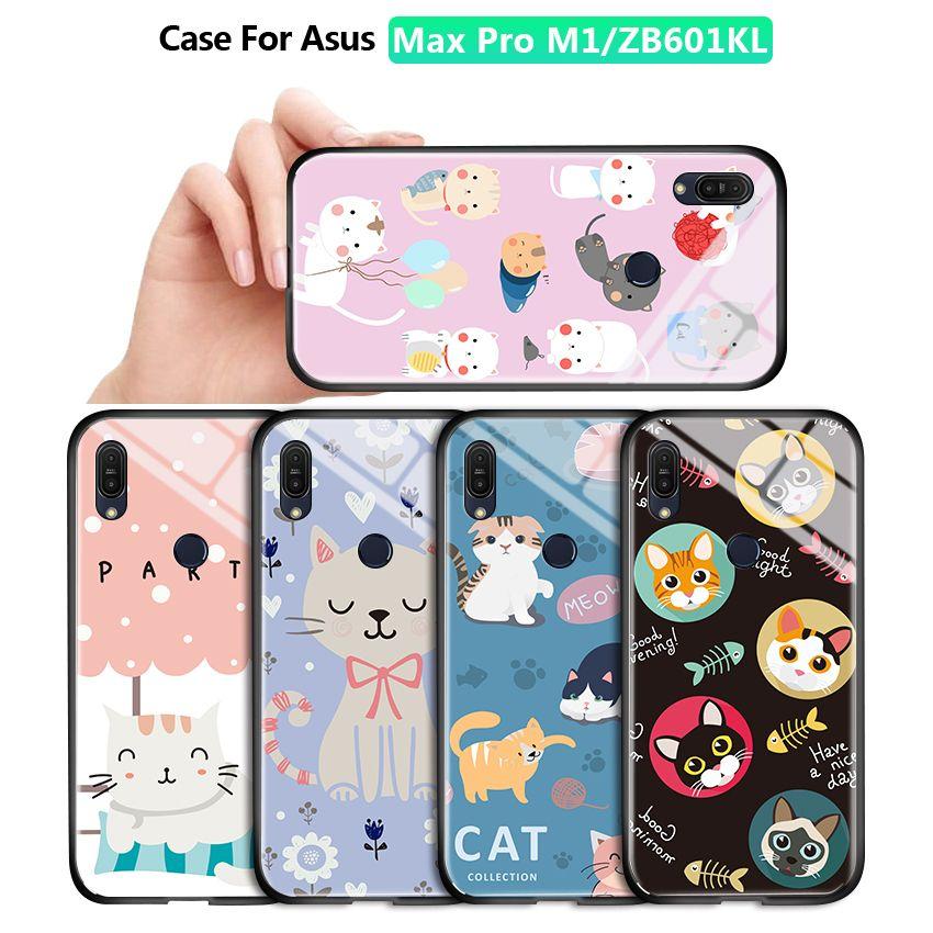 ASUS Max Pro M1 ZB601KL ZB602KL luxe Lovely Girls Cartoon Cat Boîtier Téléphone cas antichocs en verre trempé Couverture arrière