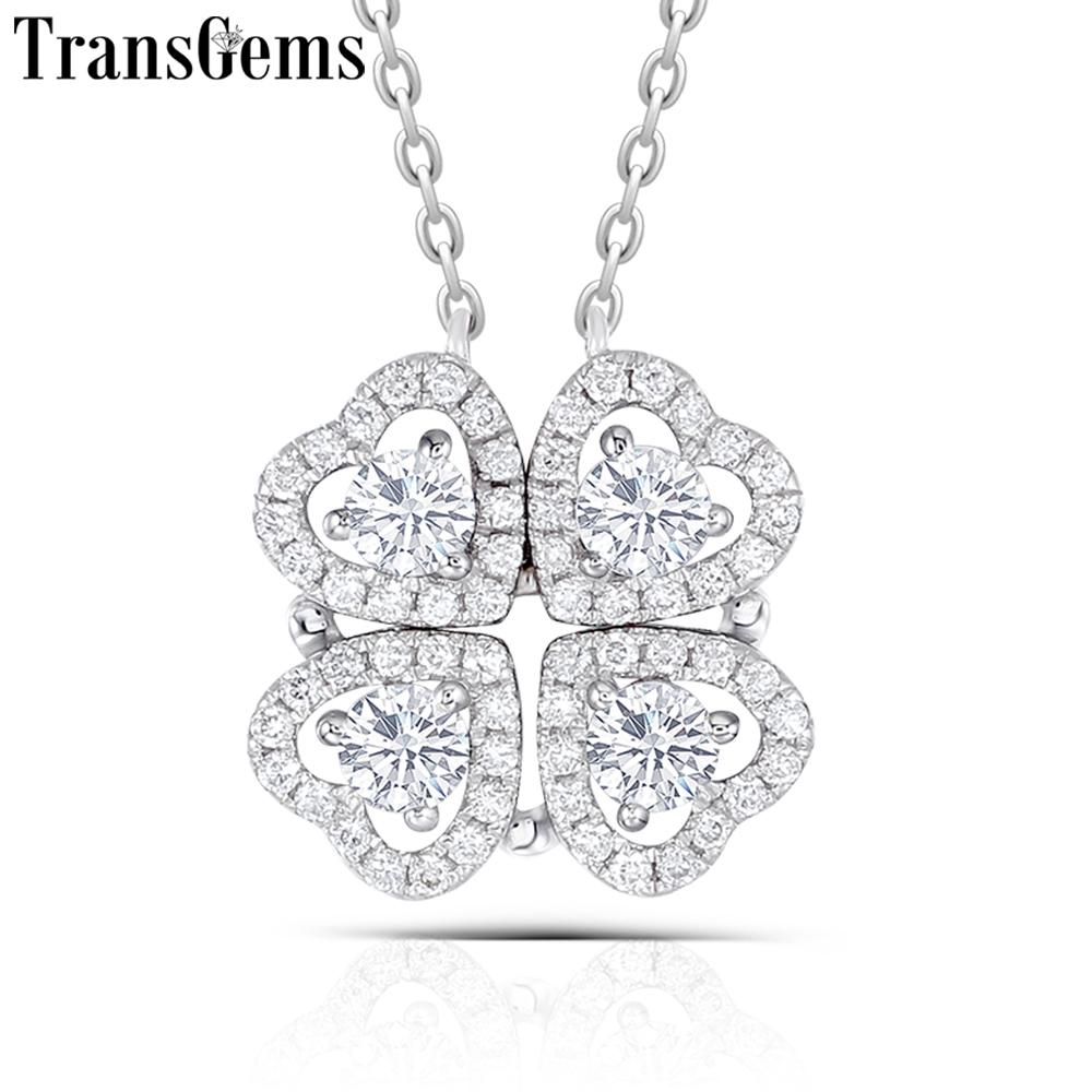 Transgems Solid 14k White Gold Center 4pcs 3mm Heart Shaped F Color Moissanite Four Leaf Clover Pendant Necklace For Women Gift Y19032201