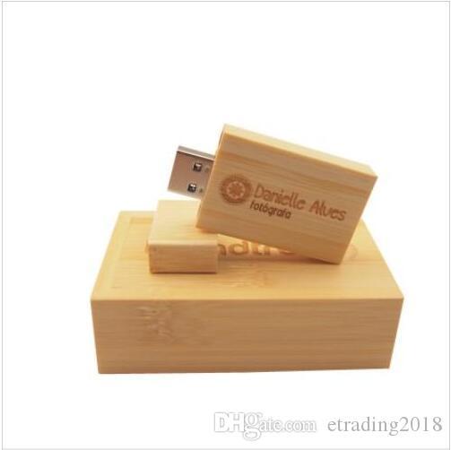 Pendrive Personalizado USB Flash Drive de madera Pen Drive 4GB 8GB 16GB 32GB 64GB USB 2.0 del regalo de boda (sobre 30pcs insignia de encargo libre)