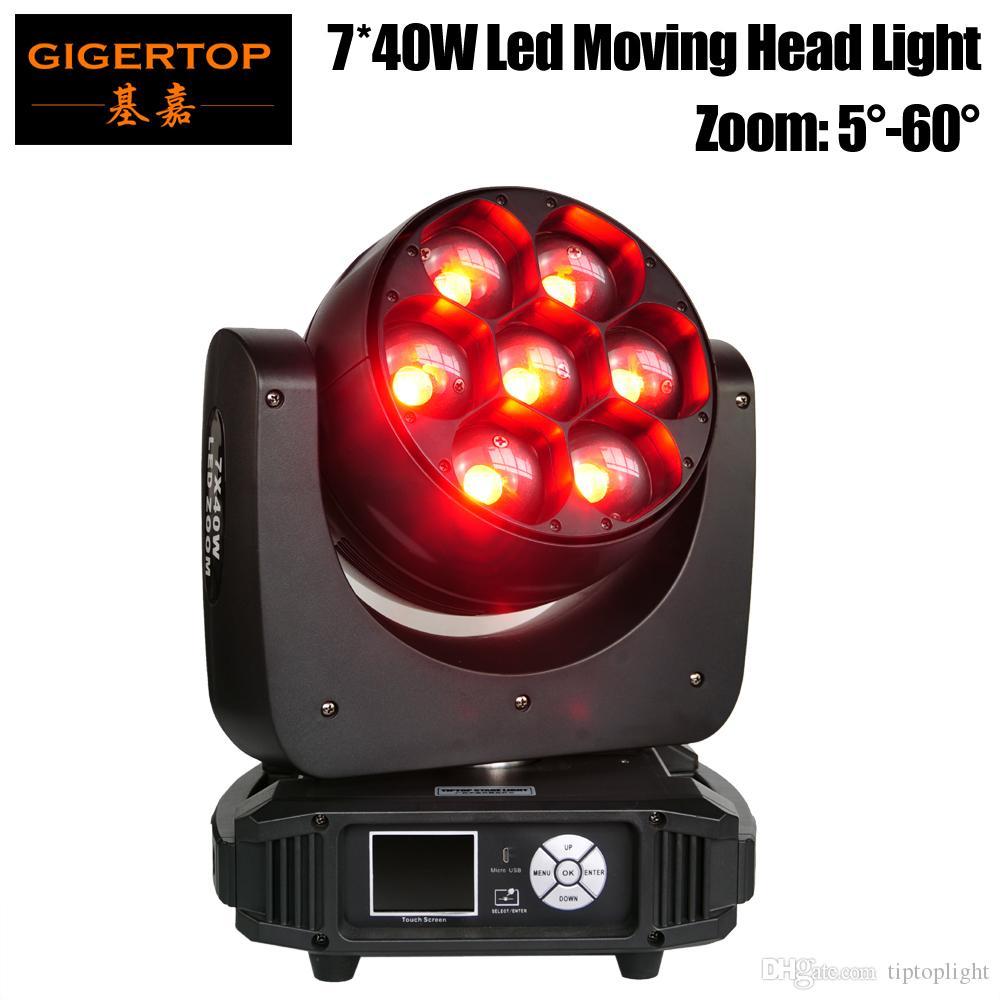 Gigertop 320W 7 х 40W RGBW 4IN1 Led Moving Head Light Увеличить DMX512 управления Os-баран Оригинал 5-60 градусов Увеличить 12/17 Channel