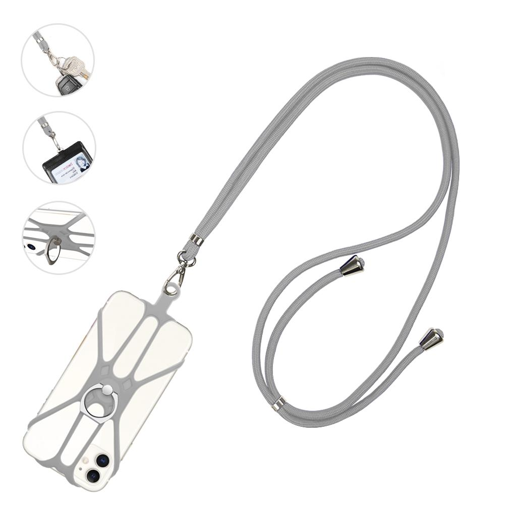 Universal Silicone Cell Phone Lanyard Holder Case Cover Phone Neck Strap Necklace For iPhone 6 7 5s Samsung Xiaomi with finger ring stand