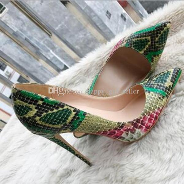 2019 мода новый зеленый змеиная кожа высокий каблук Красный дно обувь насосы, тонкий и острый мелкий один обуви насосы 33 34 обувь, большая обувь.