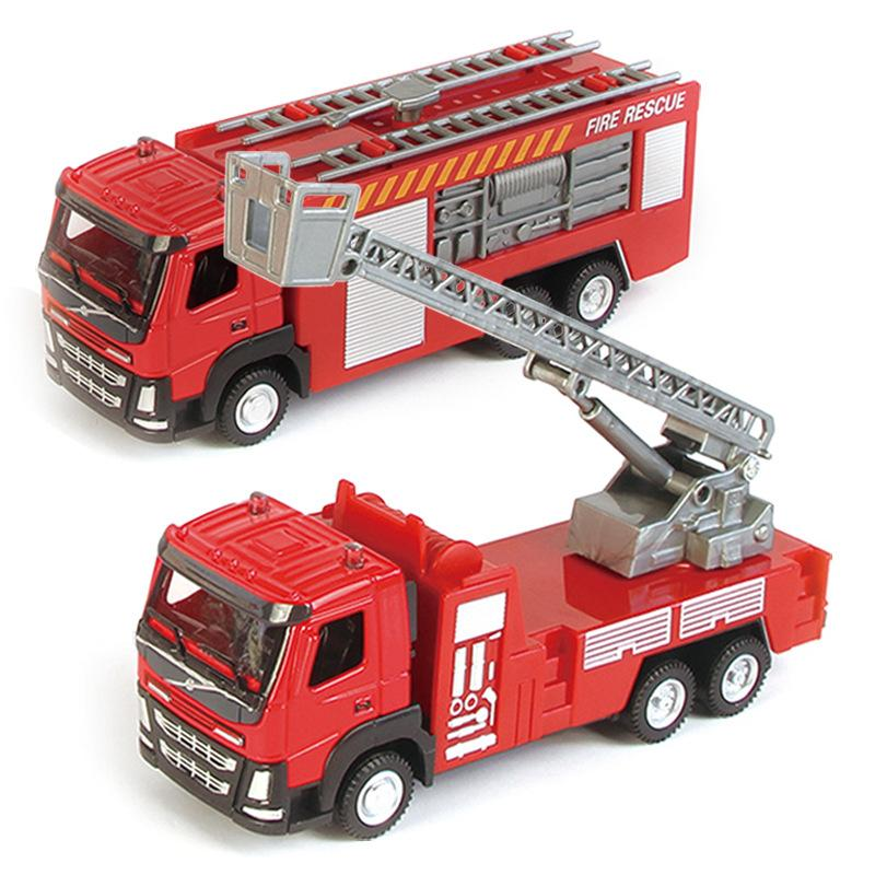 Alloy Car Model Children Alloy Toy Car 1:50 Metal Sliding Aerial Ladder Fire Truck Water Spouting Car Model