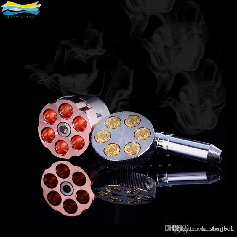 Revolver Boru Metal Ot Değirmeni Kolu Ile Altı Atıcı Boru Sigara Yaratıcı Tütün Boru Ot Değirmenleri Sigara Öğütücü Tütün Kırıcı.