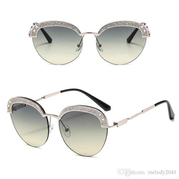 New Women Eyewear Sunglasses 7 Fashion Sun Round Eye Frame Glasses Wholesale Colors UV400 Rhinestones Ladies Half Cat Hqiti