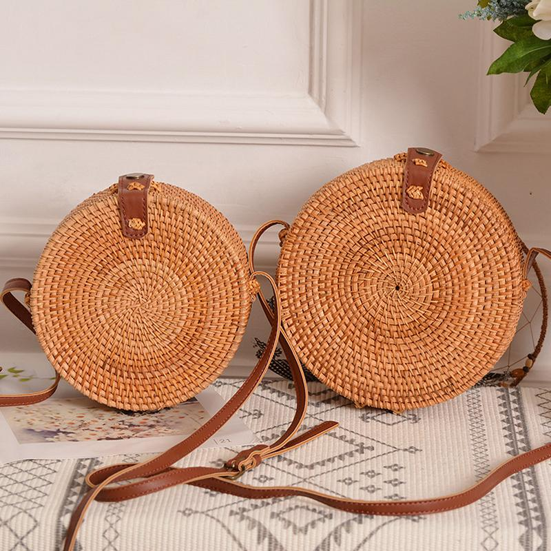 Circular Rattan Bag 2020 Ins Summer Straw Bags Purse Handmade Bali Beach Shoulder Bag Woven Boho Adjust PU Leather Strap Handbag