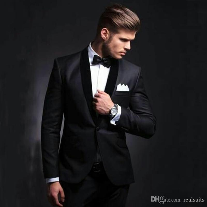 Custom Made Groom Black Tuxedos Velvet Shawl Lapel Two Pieces Men Wedding Suits Formal Mens Suits For Business Prom Party (Jacket+Pants)