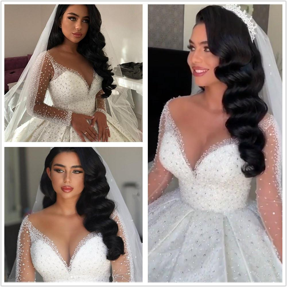 Discount luxury Princess Ball Gown Sexy deep v-neck crystals Wedding Dresses Arabic illusion long sleeves Bridal Gown Wedding Gowns cheapest