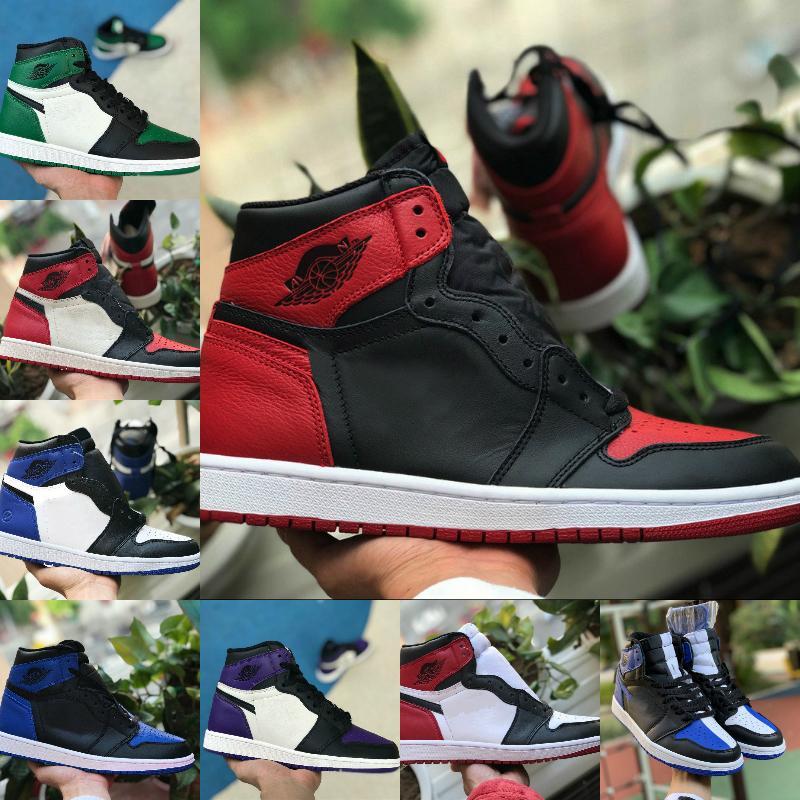 Vendre Hommes Femmes Jumpman 1 Haute OG Chaussures de basket-Bred Toe Banned Royal Blue Ombre Cour Vert Violet Fragment Retroes 1s Chaussures de sport