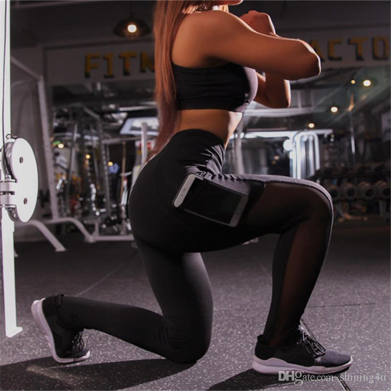 Mesh Patchwork Yoga Pantalon taille haute Active Wear Yoga sexy exercice Capris Femme Tenues Femmes Lift Butts Leggings Fitness Pocket