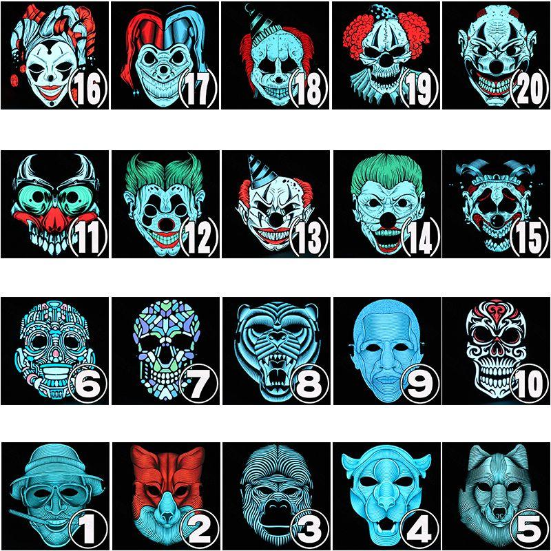 Halloween-Maske LED Light Up-Party-Masken-Festival Cosplay Zubehör Zuckerschädel Mascara Tier Maska Joke Karneval Horror T191010
