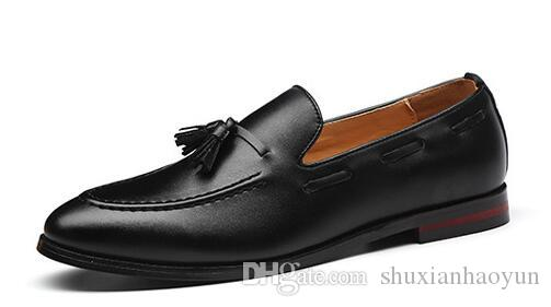 New Tassels Men Leather shoes Doug Casual Flat Slip-On Driver Dress Loafers Pointed Toe Moccasin Wedding Shoes