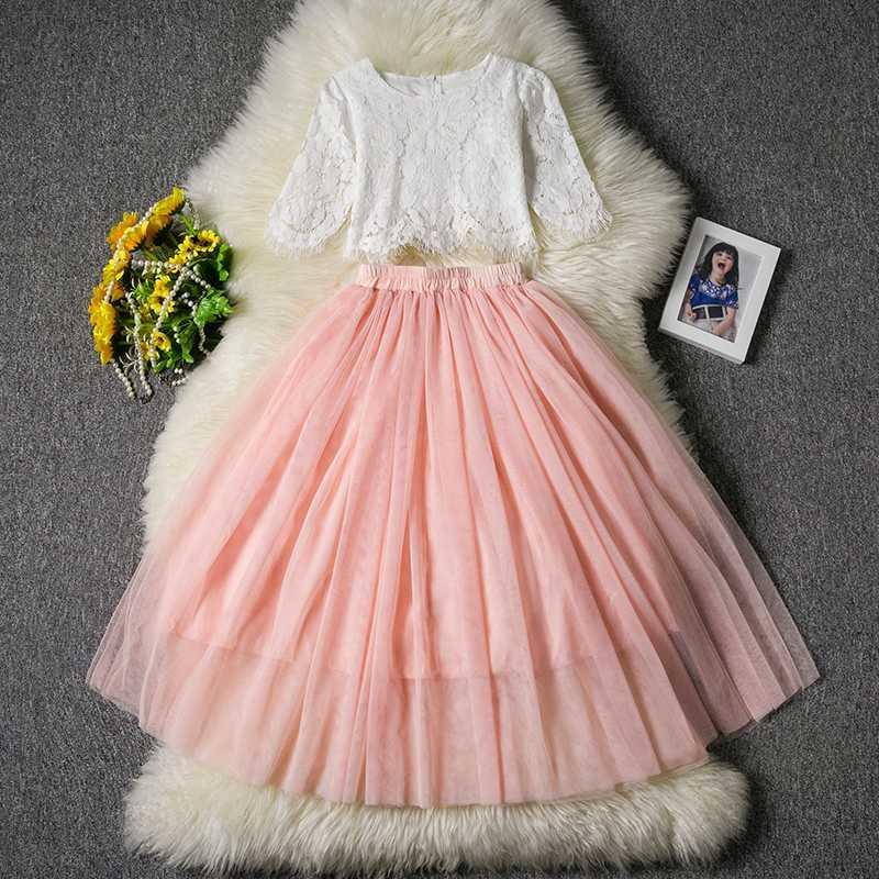 الصيف الوردي اللباس فتاة حفل الطفل مجموعة ملابس نصف كم الرباط أعلى + الشمبانيا الأميرة طويل اللباس أطفال حفل زفاف الملابس