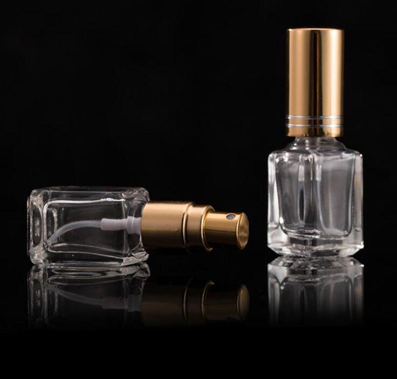 5ml mini botella por pulverización portátil de perfume vacía botellas de cristal de perfume recargable del atomizador tapas Con Negro Oro Plata