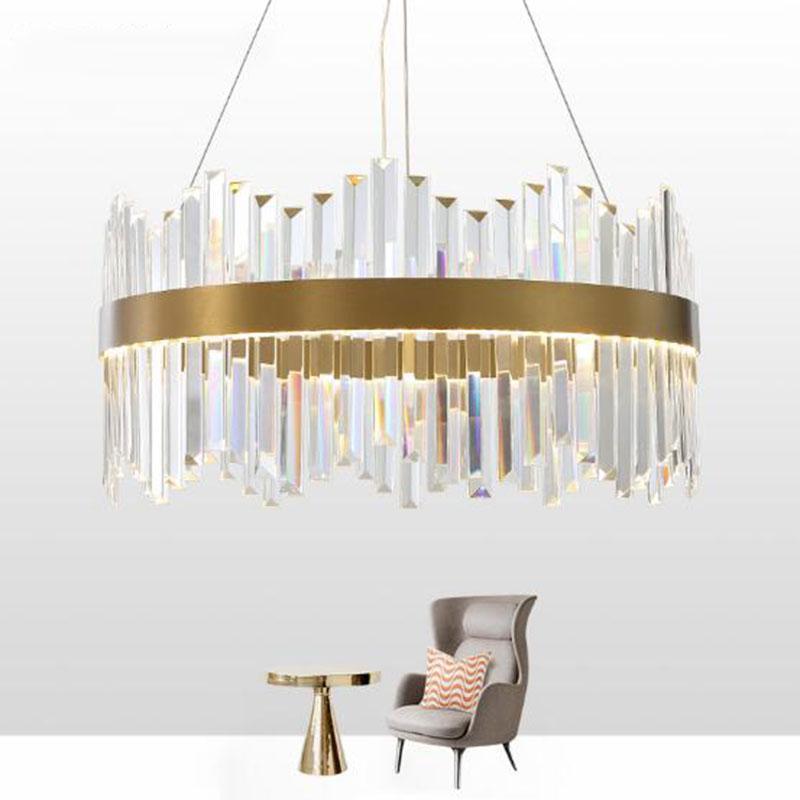 فاخر كريستال الثريا الإضاءة لكبير غرفة المعيشة جولة بلورات غرفة الطعام ديكور البيت مصابيح LED مصباح