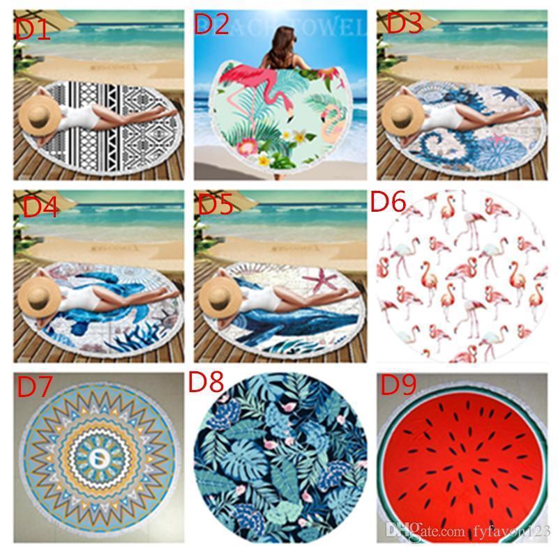 Mat Indian Summer Beach Bohemian ronde tapisserie Tapis Hippie de pique-nique mince couverture Yoga Mat Throw en mousseline de soie polyester serviette A808